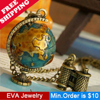 Min.Order is $10.5 Fashion vintage N20107  globe telescope necklace Women mix