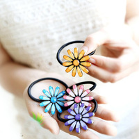 2013 the latest fashion epoxy sunflowers Girl Kid Children women elastic hair bands