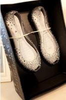 Melissa 2014 rhinestone open toe flat heel transparent crystal shoes female sandals flat jelly shoes female wedding shoes