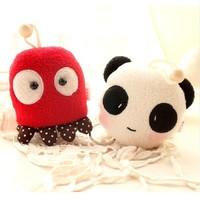 9cm super cute soft keychain bag plush octopus,monkey,cat, panda animal key ring bags for girls birthday&graudation gift, 1pc