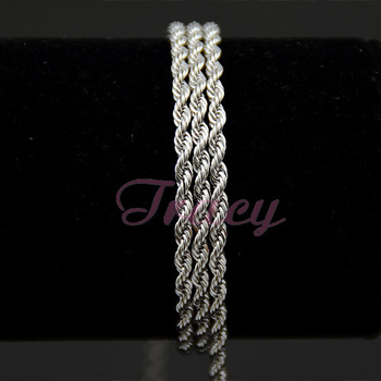 24inch Free Shipping 3mm MENS Womens 18K White Gold Filled Necklace Rope Twisted Chain Necklace Fashion 61cm