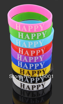 50pcs mixcolors lot Silicone rubber Happy Friendship Bracelet Wristbands Jewelry Hot Gift Wholesale Bulk free shipping