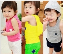 Hot sale summer New arrivals 100% pure cotton children's clothing  sports vest+shorts hooded #C0384(China (Mainland))