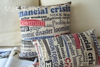 "Free Shipping 2 pcs/lot 18"" 20"" Newspaper Headlines Retro Vintage Linen Decorative Pillow Case Pillow Cover Cushion Cover Set"
