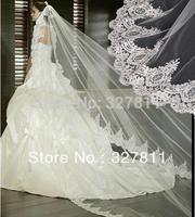 2014 New Discount Best Sale Free Shipping 3.0 meters length Wedding Elegant Bridal long Veil flower veil laciness
