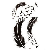 2014 Henna Tatuagem Hot Sell Waterproof Temporary Tattoo Stickers For Body Paint Decoration Women Black Feather Free Shipping