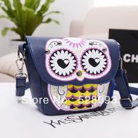 2013 fashion handbag Bags  women's handbag color block owl shoulder messenger  bag free shipping