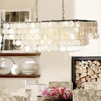 Free Shipping White Shell Pendant Light with Chrome Finish (77cm) 90005-2