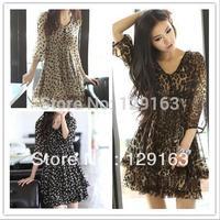 2014 New summer Fashion Brief Women's Half Sleeve Leopard Dresses Vintage Sexy V-neck Chiffon Falbala dress Free Shipping 46
