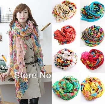 2013 Fashion Style Scarf Flowers Blooming Trendy Women Scarf Autumn And Winter scarves pashmina Free Shipping