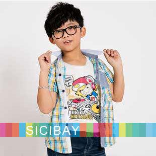 New Arrival Retail Baby Clothes Fashion Boy Shirts Kids Plaid Casual Tshirts,Free Shipping K1595