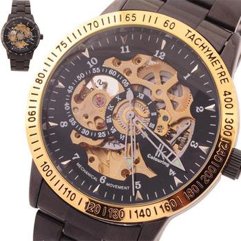 2013  Hot!  Brand new IK 98226 Tungsten steel Golden Skeleton Self-winding Mechanical Men's Watch 4 colors for chosing