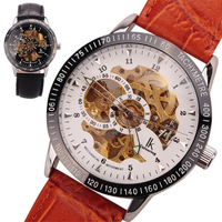 Hot! Brand IIK98226 watches Golden Skeleton Leather Noctilucent Pointer Automatic Mechanical Wrist watch 8 colors for choice