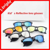 I-bright wholesale hot sale children UV400 wayfarer sunglasses kid's cool reflective sports glasses for boy/girl 5 colors