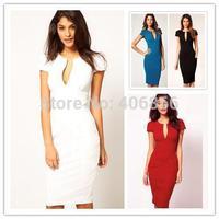 Free shippong New V-Neck Fashion Work Sliming Knee-Length Pocket Party elebrity Pencil dress