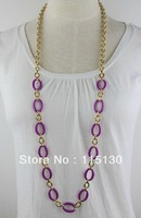 Vintage Gold Plated Long Chain Necklace For Women Alloy Chunky Link Chain Multicolor Fashion Jewelry Wholesale