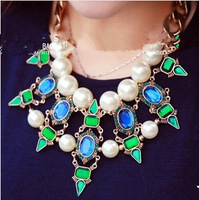 Free shipping 2014 Vintage Jewelry Party Precious Stone Water Drop Pearl Big Statement Necklace