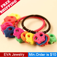 Min.Order is $10.5 Fashion multi-colored F03206 HARAJUKU neon color skull bracelet hand ring headband hair