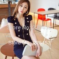 2014 summer one-piece mini dress summer slim elegant sexy formal office ladies slim hip long-sleeve dress