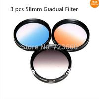 58mm Gradual Grey Blue Orange Color Special Effect Lens Filter Screw Mount For Nikon Sony Canon EOS 600D 1100D 60D 18-55mm Lens