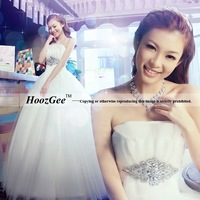A-Line Sweetheart Strapless Floor-Length Voile Wedding Dress Bridal Gown Sash With Diamond Decoration / Plus Size HoozGee-930