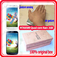 Newest 1:1 S4 phone Real 5.0inch Gesture sensing screen Galaxy SIV i9500 phone MTK6589 S4 quad core  Rom 16GB GSM WCDMA