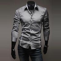 New Arrival!!!2014 Mens Slim fit Unique neckline stylish Dress long Sleeve Shirts Mens dress shirts ,size: M-XXXL MCS002