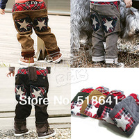 2014 autumn five-pointed star pocket paragraph boys clothing baby trousers corduroy pants Free Shipping TCK001