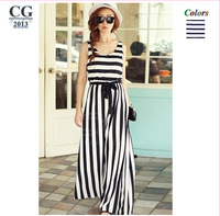 2013 Black+White Stripes Women's Vintage Sleeveless Overalls Jumpsuits Rompers With Belt Freeshipping#JP008