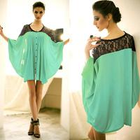 women Blouses Plus size chiffon shirt long-sleeve personalized fashion batwing sleeve loose pleated lace patchwork shirt mm
