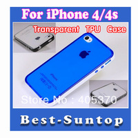 Wholesale Ultra Thin transparent Soft TPU with Frame Gel Case Cover for Iphone 4 4s Free Shipping