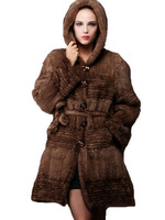 New 2013 Free Shipping  Genuine Mink Coat Fur Luxury Mink Fur Coat Long Knitted With Hood By Hand Winter Coats