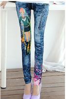 Autumn New  Women's Blue Leggings Denim Like Faux Jeans Pants Fashion Beauty Girl Printed Legging Adventure Time Jeggings KD-384