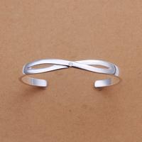 2014 Hot Selling Women's Simple Style Fashion Female's New  925 Silver Bangle Rhinestone Crystal Bangles Open Bangle Bracelet