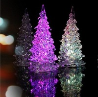 Seven Color Allochroism Lighting Acrylic Romantic Christmas Tree Mini Home Gifts Free Shipping