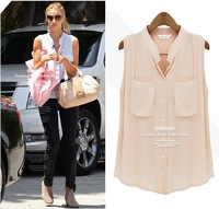 2013 NEW European Brand  Women's Fashion  Sexy Deep V Neck Loose Plus Size Chiffon Blouse Shirt Vest SOB011, FREE SHIPPING
