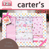12 Piece Infant Clothing New Born Gifts Box Set Baby Romper Carters Long Sleeve Blue / Pink 6M  Free shipping!