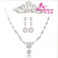 2013 Free Shipping Wholesale Wedding Jewelry Set Fashion Wedding Dress Accessories Rhinestone Bridal Necklace Princess Tiara