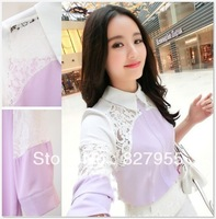 Korean Purple/white women's blouses  lace patchwork color block chiffon shirt