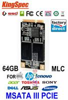 Kingspec Mini PCIE MSATA SATA III II SSD 64GB MLC HDD For Dell M4500 M6400 Acer 722 W500 For HP Envy For IBM S430 Lenovo Y460 V3