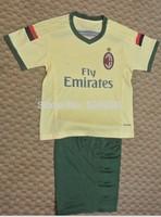 2014-2015 AC Milan  yellow kids soccer jersey+shorts kits wholesale,  AC milan jerseys for children junior football shirt