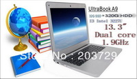 Free shipping new Ultrabook laptop computer Win7 Win 8 I3 3227U Dual 1.9GHZ   2GB RAM 32G SSD 320GB HDD WIFI webcam