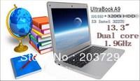 Free shipping new Ultrabook laptop computer Win7 Win 8 I3 3227U Dual 1.9GHZ   2GB RAM 32G SSD 320GB HDD WIFI webcam