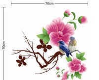 2013 new hot sale fashion bird and flowers landscape decals pvc plastic 3d wall stickers mirror bedroom free shipping