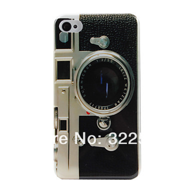 Retro Camera Pattern Mirror Hard Phone Case for iPhone 4/4S Free shipping(China (Mainland))