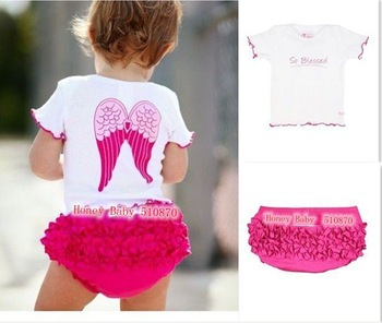 HB64 Fashion baby clothing set(2PC)/ baby girl's cute wing top+flower shorts/ ...