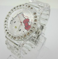 New arrivals selling Hello Kitty brand fashion transparent dial 6 colors women dressed girl quartz watch free shipping