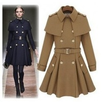 2013 ! hot-selling sweet cloak skirt cape belt slim wool coat outerwear a204