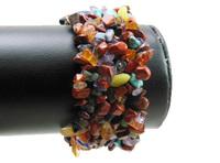 mix color gem stone gem stone chip bead bracelet bangle stretch WBB010
