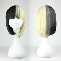 New Fashion 45cm Long Black and Yellow Beautiful lolita wig Anime Wig